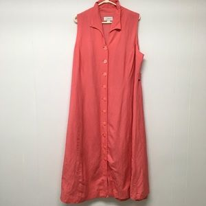 CJ. Banks Linen Maxi Dress Peach 20W Button Lined